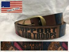 Belt Support Our Troops Eagle Head Leather Made in USA