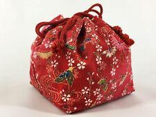 Vintage Japanese Kinchaku Draw-String Bag in Red Rayon Chirimen Fabric: May18A