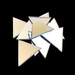 Triangle Shaped Crafting Mirrors, Set of 10, Many Colours, Shatterproof Acrylic