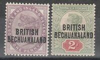 BECHUANALAND 1891 QV 1D AND 2D GB OVERPRINT
