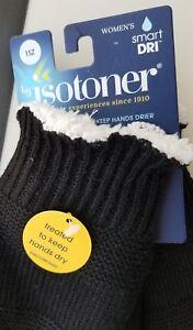 2 Isotoner Women's Black Knit Mittens Cozy Shepra Lining Smart-Dri NWT