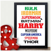 Superhero Personalised Birthday Gifts for Boys Him Son Grandson Super Hero Print