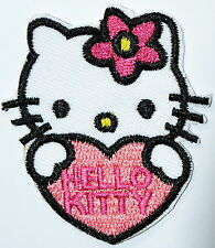 Pink Flower Love Kitty Cat Iron On Patch Applique ,Made of Cloth, iron-on