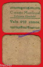 MUY RARO Billete local COLOMERA GRANADA 10 Centimos 1937 RC / G