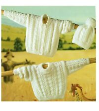 Matching Cardigan Sweater & Hat knitting pattern in DK. For baby, Jumper, jacket