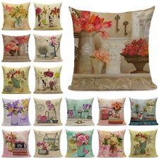 Flower Market Vintage Floral Throw Pillow Cover Linen Decorative Cushion Case