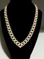 """Vtg Ivory Colour Pearled Glass Beads, V-Necklace w/Gold-tone Hook Clasp 8"""" Drop"""