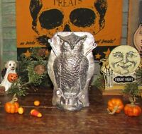 Primitive Antique Vtg Tin Style Halloween Silver Owl Resin Chocolate Candy Mold