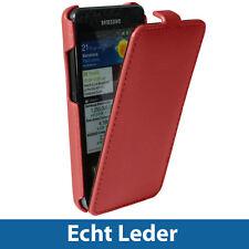 Rot Echtes Leder Tasche für Samsung i9100 Galaxy S2 SII Android Hülle Case Etui