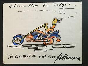 "Lot of 6 drawings ""Bikers"" / by German Artist Guntram Prochaska ""Gunti"" 1999"