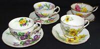 Royal Standard England Bone China 4 Cups & Saucers Set #2 - Florals