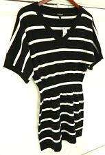 New EXPRESS Large 12 14 SWEATER Tunic DRESS V-Neck BLACK White STRIPE   mm