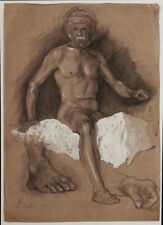 Dated 1925 Art Deco, male nude study, by Heinz Wagner, signed, estate stamm