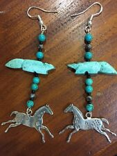 Sterling Silver TURQUOISE EARRINGS W INDIAN PONIES HORSE FOX CRYSTAL