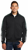 Sport-Tek Men's Rib Knit Polyester Double Stripe Sleeve Track Jacket. JST93