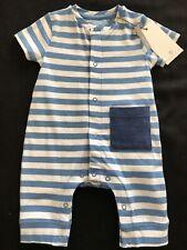 Bellybutton (Germany) NWT Organic Cotton Blue Stripe Shortall - Newborn