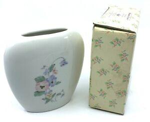 New in Box - VINTAGE Japanese Flower Bud Vase Ivory Blue Pink Floral RUSS #4930
