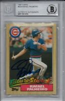 Rafael Palmeiro Chicago Cubs 1987 Topps Rookie Autographed Signed Card Beckett