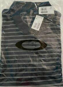 Oakley Womens Enjoy Short Sleeve Polo Black with Grey Stripes Med  NWT! MSRP$50.