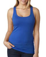 Women Sleeveless Muscle Vest Top Ladies Scoop Neck jersey Racer Back Tank Tee