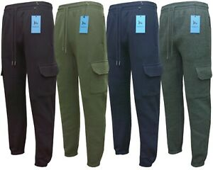 Mens Cargo Combat Jogging Bottoms Plain Trousers Joggers Elasticated Hem M - 3XL
