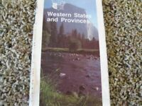 Vintage 1987 AAA Map WESTERN STATES AND PROVINCES  American Automobile Assn.