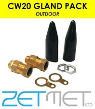 Cw20 SWA Large 20mm Armoured Outdoor Cable Gland Pack Kit Steel Wire Pack of 2