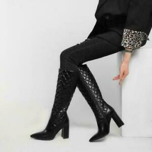 Women's Fashion PU Leather Quilted Block Heej Knee High Riding Boots Shoes