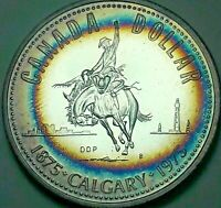 1975 CANADA 1 ONE SILVER DOLLAR PROOF TONED BU GEM UNC RAINBOW NEON COLOR (DR)