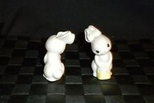 Hallmark Merry Miniatures Easter 1982 Bunny W/Yellow Basket Epf3702 Ceramic