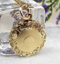 Antiguo/victoriana 9ct oro recargado Memento Mori Cabello Collar Medallón de luto