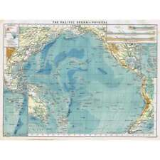 PACIFIC OCEAN (Physical) Antique Mercantile Map 1904