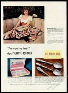 1940 Paulette Goddard photo 1847 Rogers Bros silver 3 spoon vintage print ad