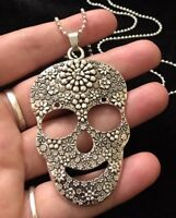 "Giant Sugar Skull Necklace 30""chain day of the dead pendant Flower rose Mexican"