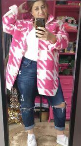 Autumn Pink/white Shacket Oversized Gingham Jacket Shirt Brushed Fluffy 12-20
