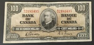 1937 Canada Banknote $100 Bill Gordon-Towers