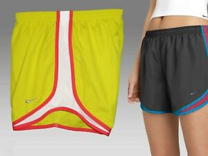 NIKE Ladies DriFit Stay Cool Running Athletic Shorts Lime (Red & White) Small