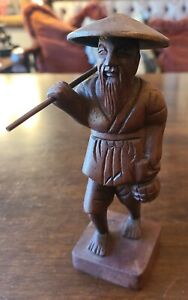 """Vietnamese Carved Wood Statue Figure Man w/ FISH and Fishing Pole 6"""" Tall 🐟"""