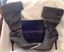 Rampage Boots Clarissa Grey Distressed Smooth High Heels Excellent Condition! 8M