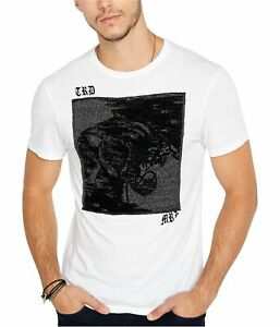 Buffalo David Bitton Mens Textured Patch Graphic Embellished T-Shirt white L