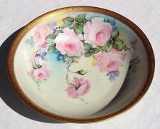 Antique Hutschenreuther Selb Hand Painted Porcelain Bowl Roses Gold Rim Signed