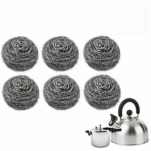 Stainless Steel Scourers Kitchen Washing Cleaning Wire metal  Pads Pan Stains X6