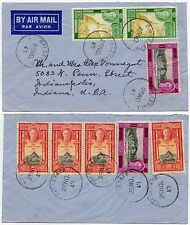 CEYLON 8 stamp MULTI FRANKING 1947 AIRMAIL to INDIANA...CONSTITUTION ISSUE FDI