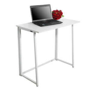 Simple Collapsible Computer Desk Foldable and Portable White Simple MDF