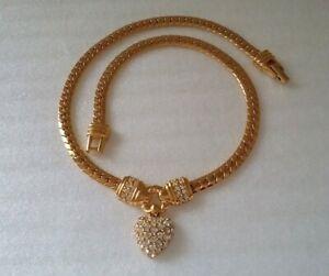 Vintage Signed Swarovski & Swan Symbol Crystal Heart Mother's Day Necklace