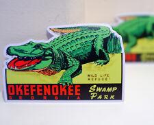 "#3179 Okefenokee Georgia Swamp National Park Wild Retro Label 4x3"" DECAL STICKER"
