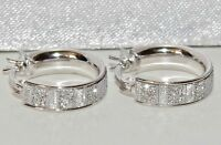 STERLING SILVER (925) LADIES SPARKLING MOONDUST CREOLE HOOP / HUGGIE EARRINGS