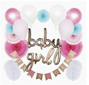 It's A Girl! Baby Shower Decorations- Banner, Balloons, Honeycombs, Pinwheels!