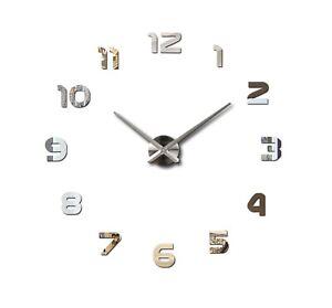 Wanduhr Uhr 3D Wandtattoo Deko Design Spiegel Edelstahl Wand Uhr Groß XL DE