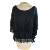 Old Navy Lace Top Shirt Blouse Black L Large
